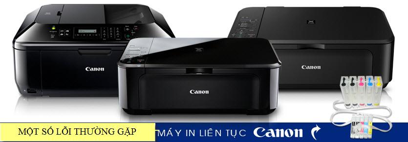 Bảng báo lỗi thường gặp và cách xử lý dòng máy in phun màu Canon gắn bộ tiếp mực in liên tục