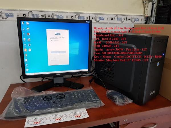 Bộ máy vi tính để bàn Desktop mới H61 i3 Ram 2GB SSD 240GB có màn hình LCD Dell 19 inch E190S
