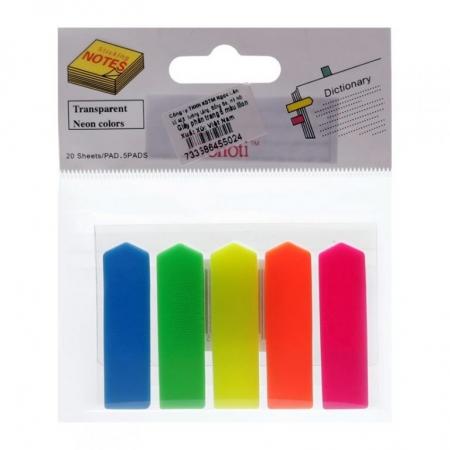 Giấy note 5 màu nhựa - Phân trang 5 màu mũi tên