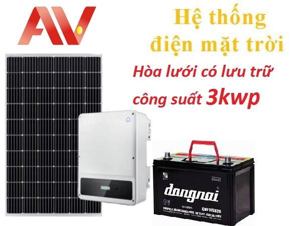 Hệ thống điện mặt trời hòa lưới có lưu trữ điện dùng ban tối công suất 3kwp