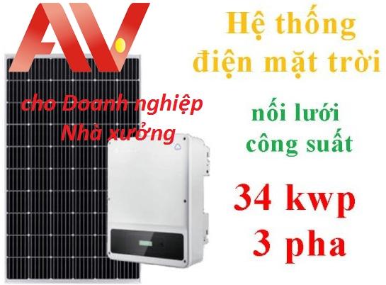 Hệ thống điện mặt trời nối lưới cho doanh nghiệp nhà xưởng sản xuất 34 kwp 3 pha