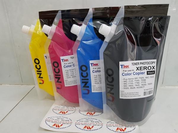 Unico mực màu Đen Black nạp photocopy Fuji Xerox màu Tink C3370 WC 7525 7530 7535 7545 7556 7830i 7835i 7845 7855-USA