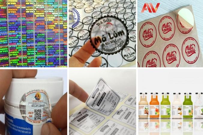 Nhận in tem nhãn in decal màu giá rẻ decal giấy trong nhựa tem bảo hành bể xi bạc Kraft 7 màu dạng cuộn tính m2
